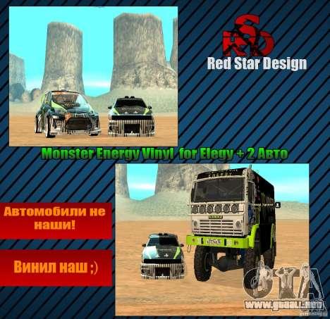 Monster Energy Vinyl para visión interna GTA San Andreas