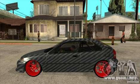 Honda Civic Carbon Latvian Skin para GTA San Andreas vista posterior izquierda