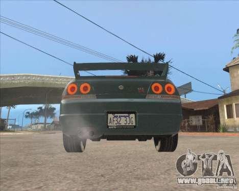 Nissan Skyline GT-R BNR33 para GTA San Andreas vista hacia atrás