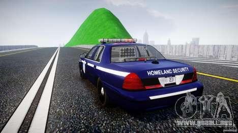 Ford Crown Victoria Homeland Security [ELS] para GTA 4 Vista posterior izquierda