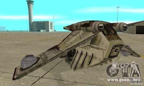 Cañonera de la República de Star Wars para GTA San Andreas vista posterior izquierda
