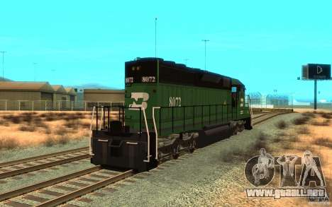 Locomotora SD 40 Burlington Northern 8072 para GTA San Andreas vista posterior izquierda
