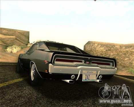 Dodge Charger RT 1969 para vista lateral GTA San Andreas