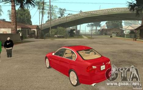 BMW 330i E90 v.2.0 para GTA San Andreas vista posterior izquierda