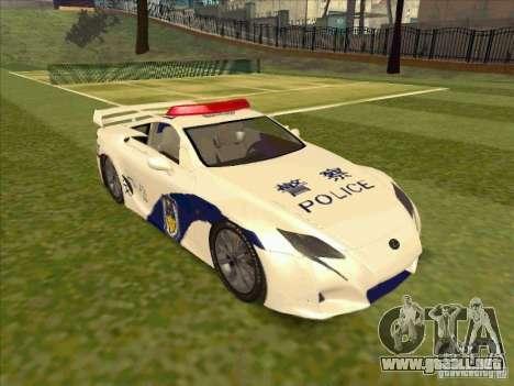 Lexus LF-A China Police para la visión correcta GTA San Andreas