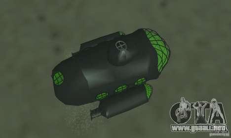 Submarino para GTA San Andreas vista hacia atrás