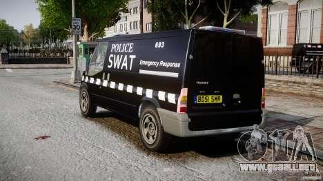 Ford Transit SWAT [ELS] para GTA 4 Vista posterior izquierda