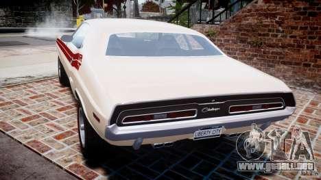 Dodge Challenger 1971 RT para GTA 4 Vista posterior izquierda