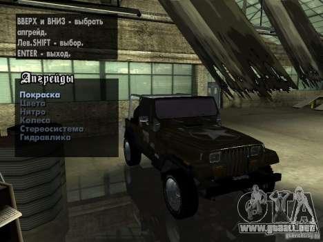 Jeep Wrangler 1986 4.0 Fury v.3.0 para GTA San Andreas vista hacia atrás