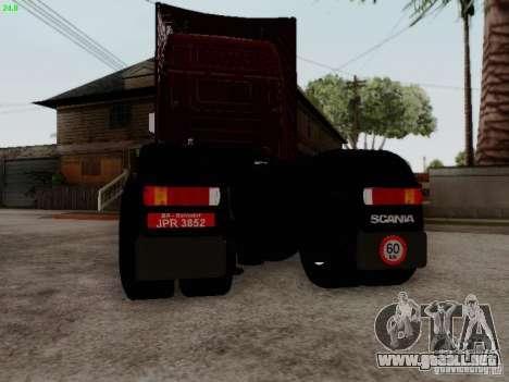 Scania R580 V8 Topline para GTA San Andreas vista hacia atrás