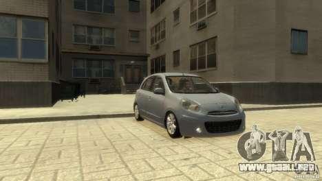Nissan Micra para GTA 4 Vista posterior izquierda