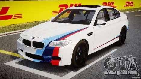 BMW M5 F10 2012 M Stripes para GTA 4 vista interior