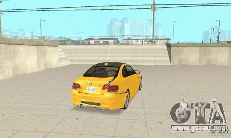 BMW M3 2008 para vista inferior GTA San Andreas