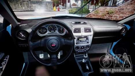 Subaru Impreza WRX STI Spec C Type RA-R 2007 para GTA 4 vista hacia atrás