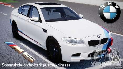 BMW M5 F10 2012 M Stripes para GTA 4