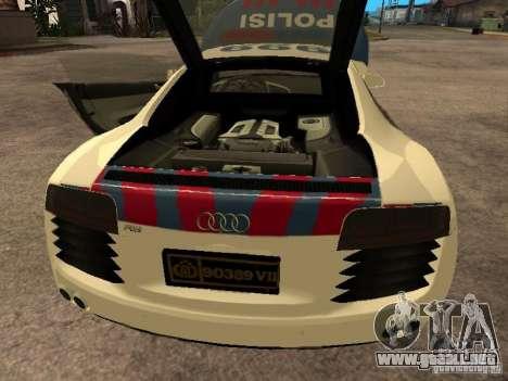 Audi R8 Police Indonesia para GTA San Andreas vista hacia atrás