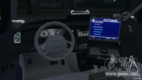 Ford Crown Victoria Police Unit [ELS] para GTA 4 vista hacia atrás