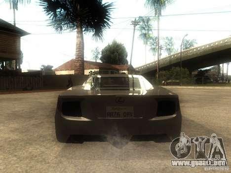 Lexus LFA Custom para GTA San Andreas vista posterior izquierda