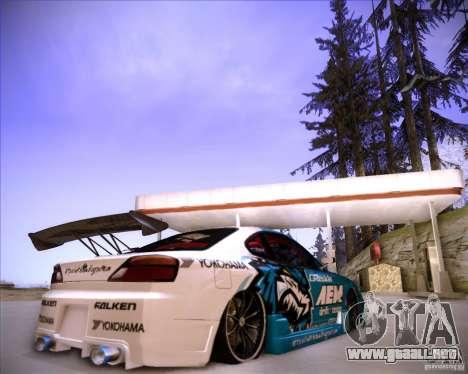 Nissan Silvia S15 Blue Tiger para GTA San Andreas vista posterior izquierda