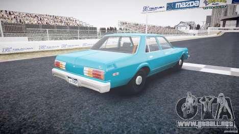 Dodge Aspen v1.1 1979 yellow rear turn signals para GTA 4 vista lateral