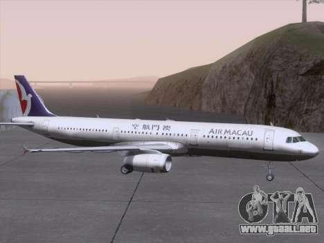 Airbus A321 Air Macau para la vista superior GTA San Andreas