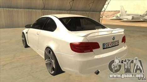 BMW 335i Coupe 2011 para GTA San Andreas vista posterior izquierda