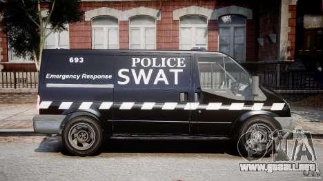 Ford Transit SWAT [ELS] para GTA 4 vista hacia atrás