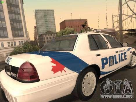 Ford Crown Victoria Vancouver Police para la visión correcta GTA San Andreas