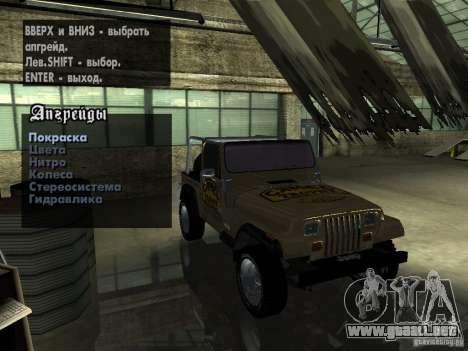 Jeep Wrangler 1986 4.0 Fury v.3.0 para visión interna GTA San Andreas