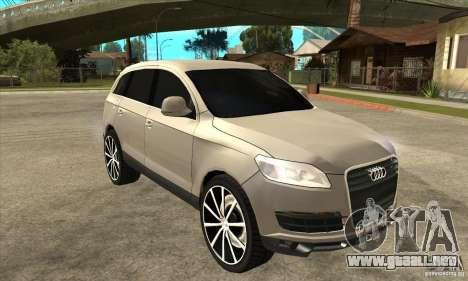 Audi Q7 v2.0 para GTA San Andreas vista hacia atrás