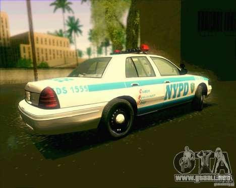 Ford Crown Victoria 2003 NYPD police V2.0 para GTA San Andreas left