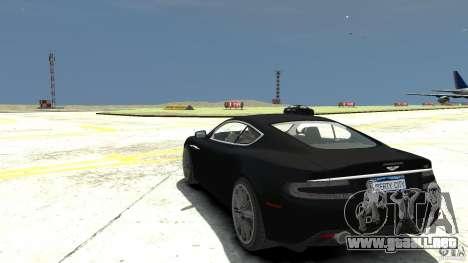 Aston Martin DBS v1.1 sin tonificante para GTA 4 Vista posterior izquierda