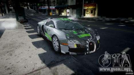 Bugatti Veyron 16.4 v1.0 new skin para GTA 4 vista hacia atrás