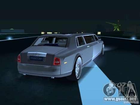 Chofer de limusina Rolls-Royce Phantom 2003 para GTA San Andreas vista hacia atrás