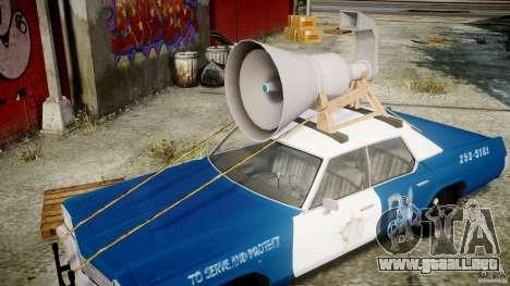 Dodge Monaco 1974 (bluesmobile) para GTA 4 vista superior