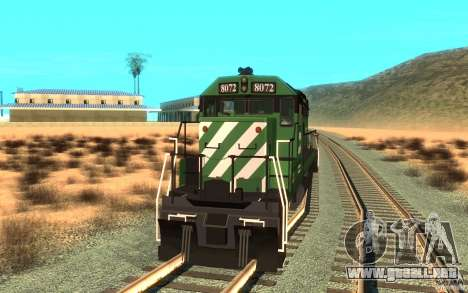 Locomotora SD 40 Burlington Northern 8072 para la visión correcta GTA San Andreas