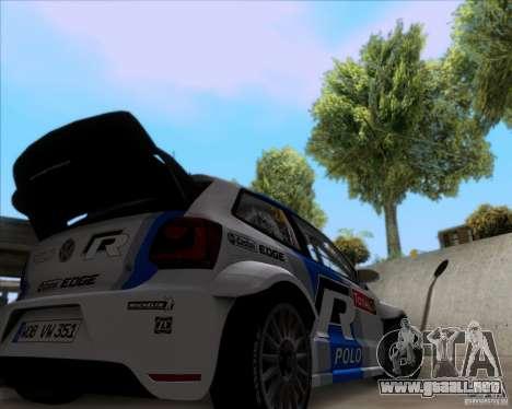 Volkswagen Polo WRC para GTA San Andreas vista hacia atrás