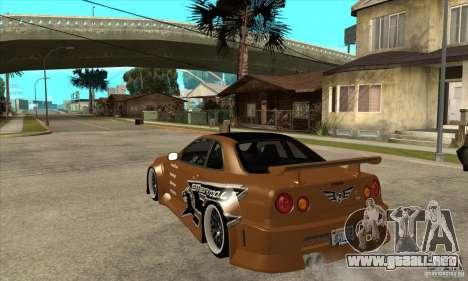 Nissan Skyline GTR - EMzone B-day Car para GTA San Andreas vista posterior izquierda