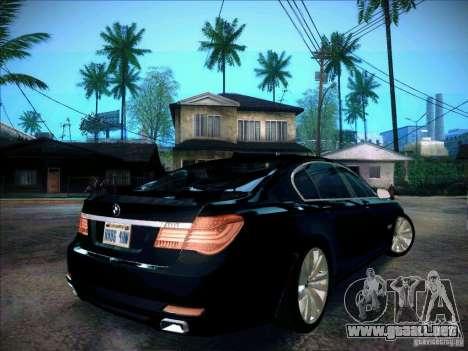 BMW 750Li 2010 para GTA San Andreas vista posterior izquierda