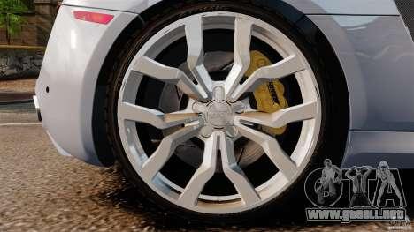 Audi R8 5.2 Stock 2012 Final para GTA 4 vista lateral