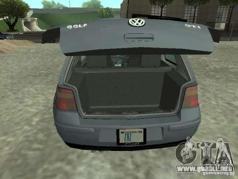 Volkswagen Golf IV para GTA San Andreas vista hacia atrás