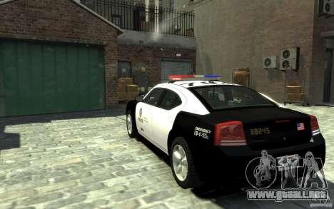 Dodge Charger LAPD V1.6 para GTA 4 Vista posterior izquierda