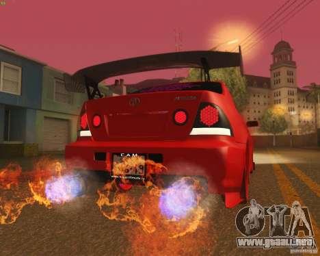 Toyota Altezza Drift Style v4.0 Final para vista inferior GTA San Andreas