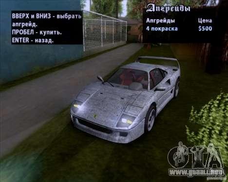 Ferrari F40 para el motor de GTA San Andreas