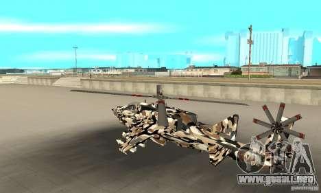 Hydra Hunter para GTA San Andreas vista posterior izquierda