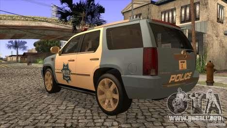 Cadillac Escalade 2007 Cop Car para GTA San Andreas vista posterior izquierda