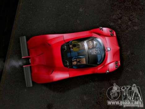 Pagani Zonda EX-R para GTA San Andreas vista posterior izquierda