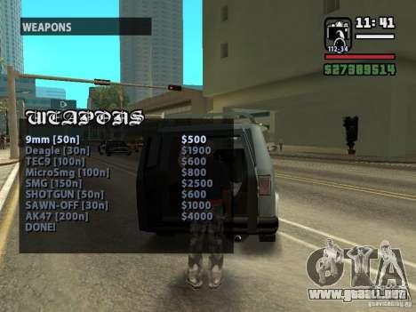 Llamada vendedor armas v1.1 para GTA San Andreas tercera pantalla
