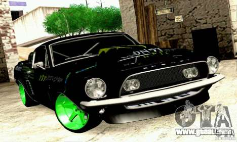 Shelby GT500 Monster Drift para GTA San Andreas vista posterior izquierda