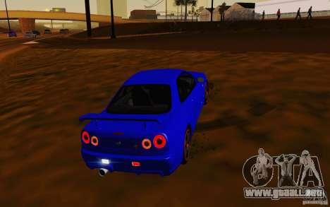 Nissan Skyline R34 GT-R V2 para GTA San Andreas vista hacia atrás